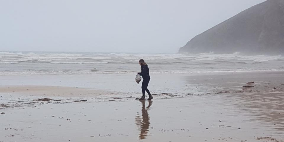 Beach clean, Mawgan Porth, Final straw